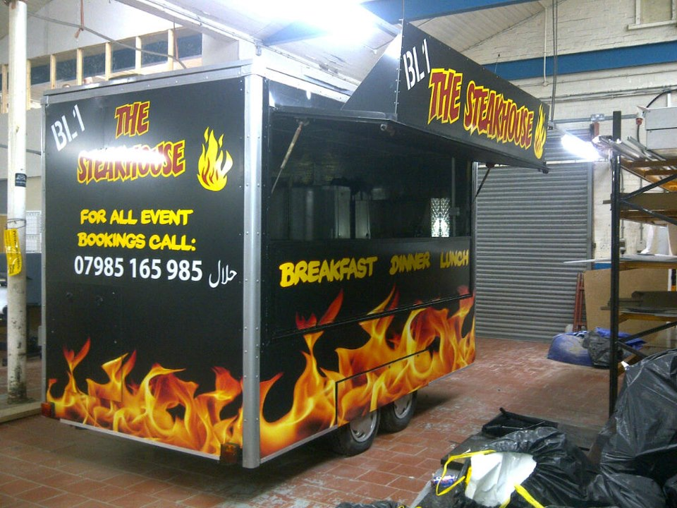 Catering trailer graphics.