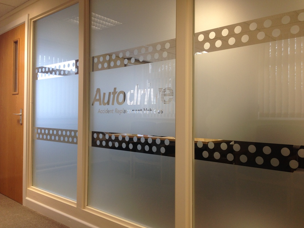 Frosted window graphics.