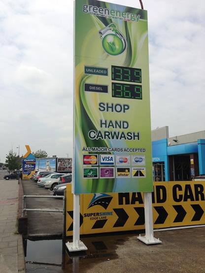Totem sign for Green Energy filling station.