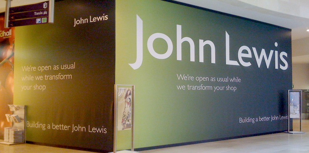 New John Lewis coming soon, hoarding graphic's.