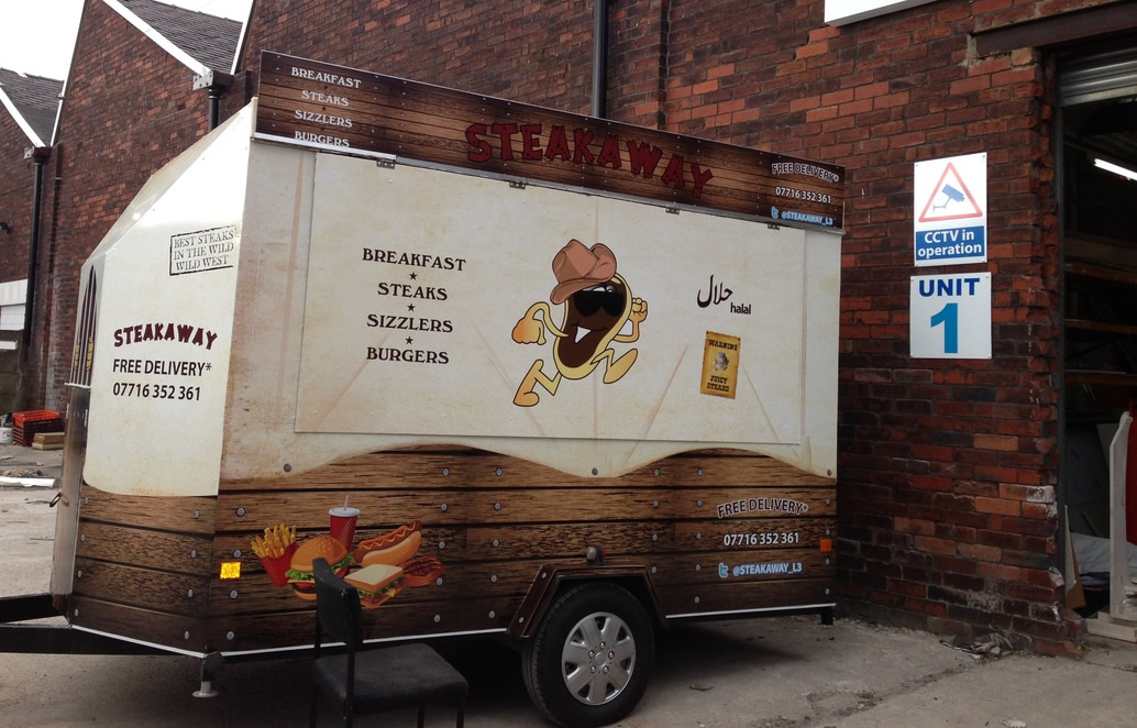 Mobile catering trailer graphics.
