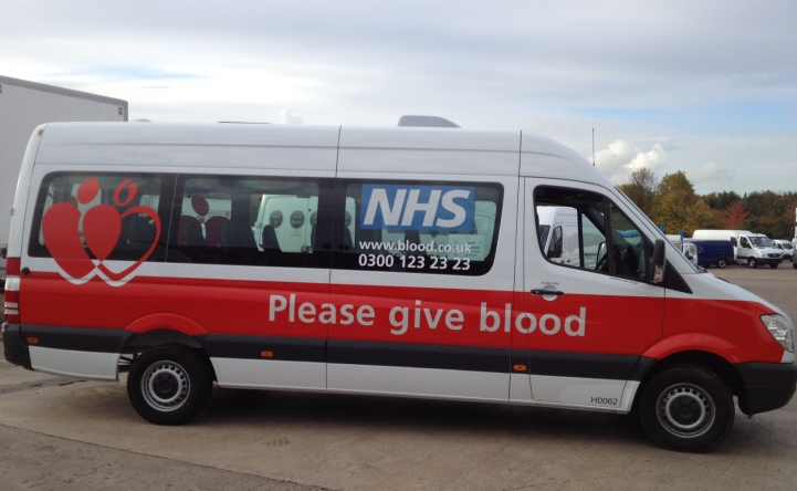 Partial van wrap for the NHS give blood.