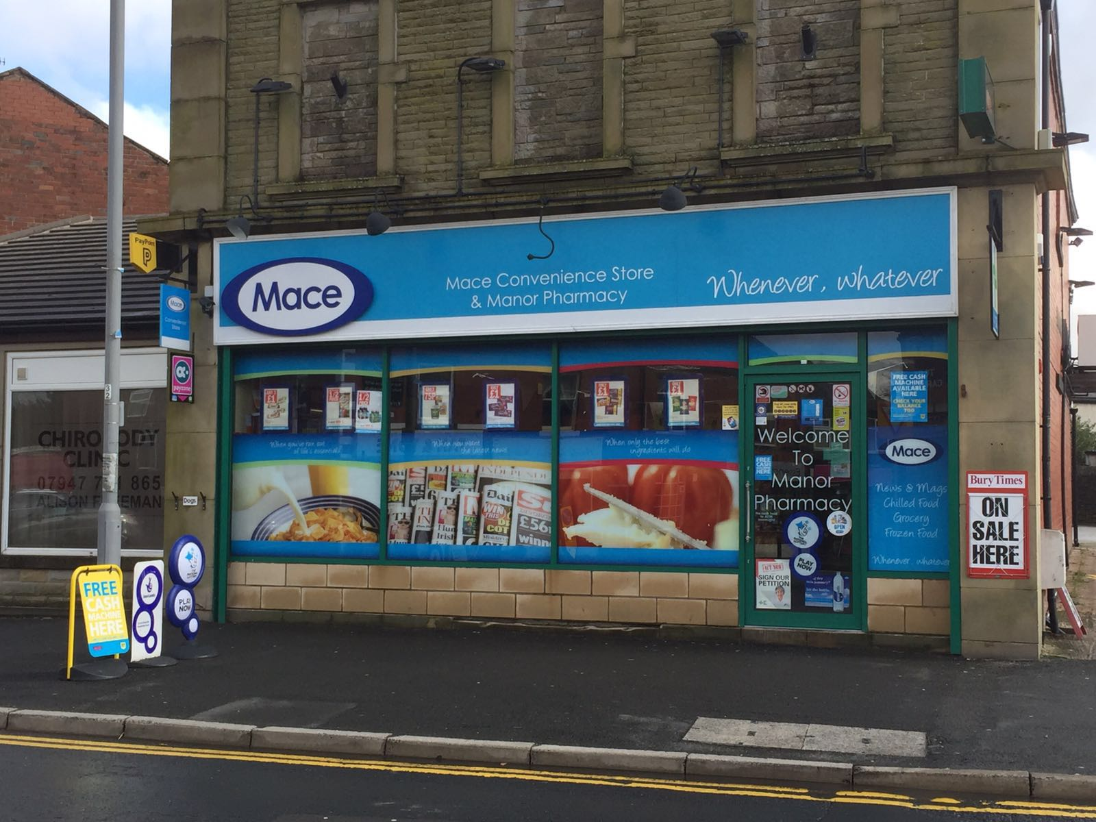 External sign for Mace convenience store